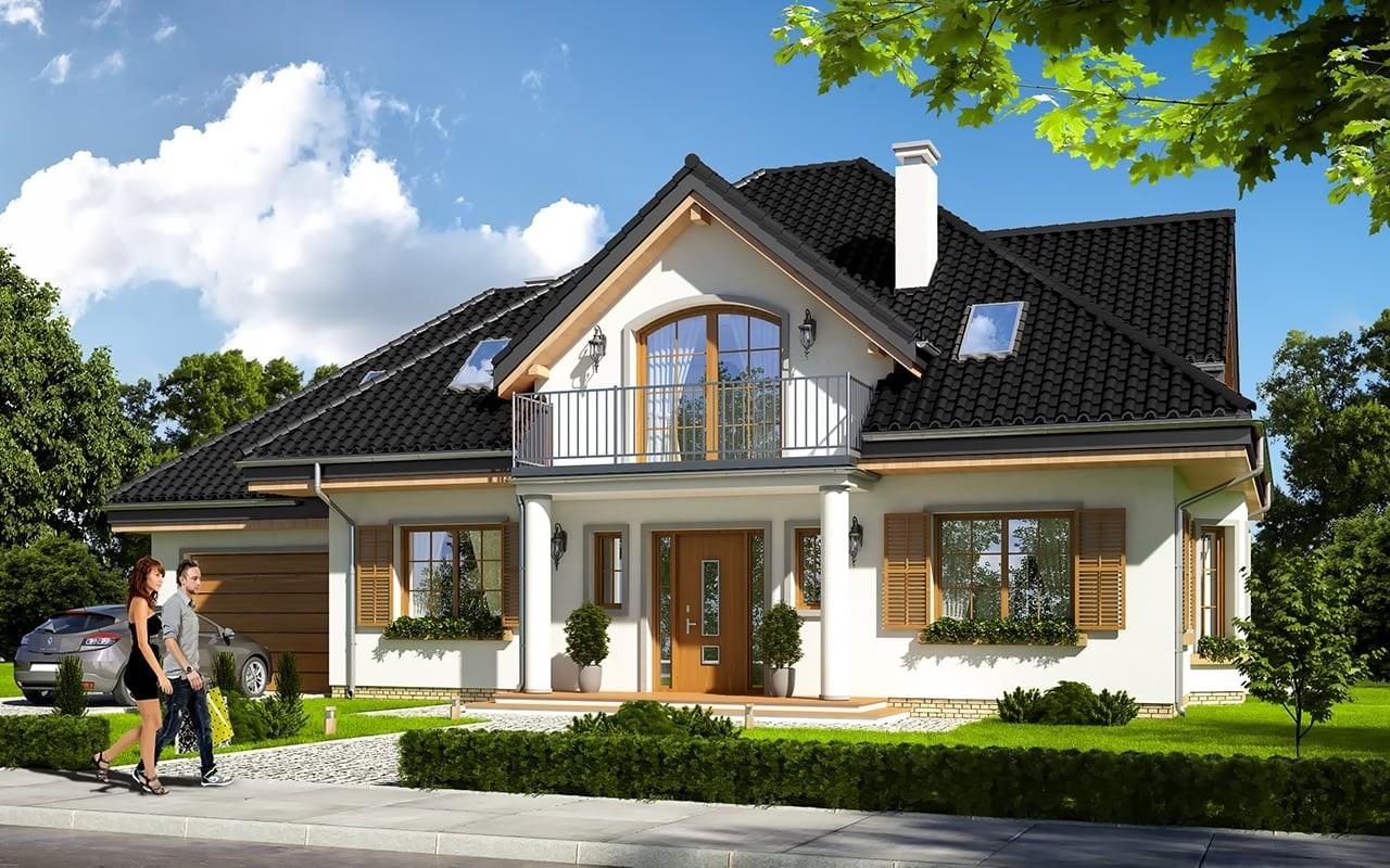 Projekt domu Ofelia 3 - wizualizacja frontowa odbicie lustrzane
