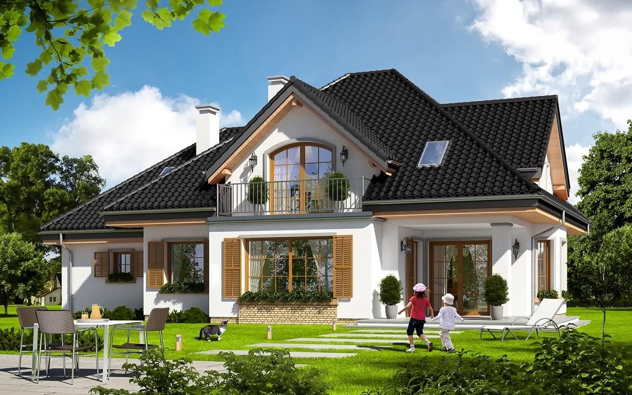Projekt domu Ofelia 3 - wizualizacja tylna odbicie lustrzane