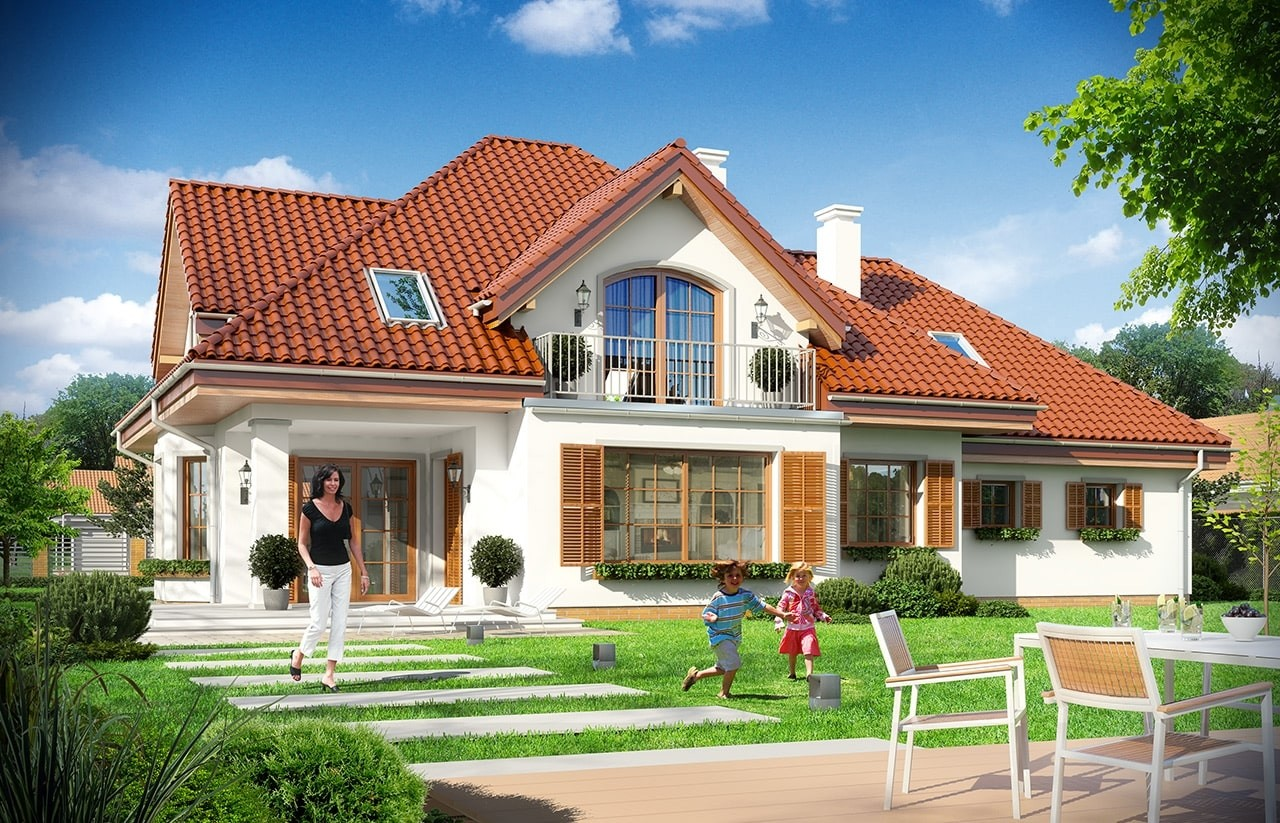 Projekt domu Ofelia - wizualizacja tylna
