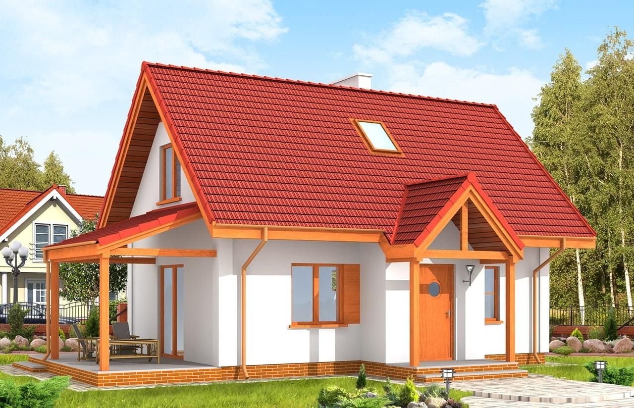 Projekt domu Okruszek - wizualizacja frontowa odbicie lustrzane