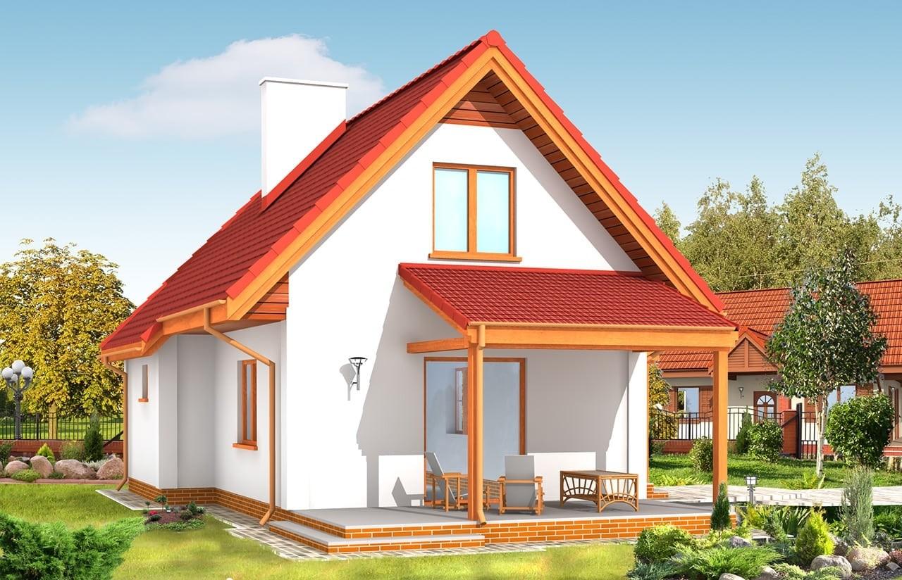 Projekt domu Okruszek - wizualizacja tylna odbicie lustrzane