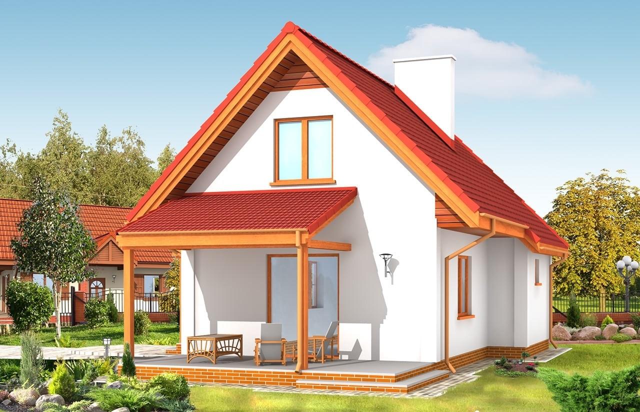 Projekt domu Okruszek - wizualizacja tylna