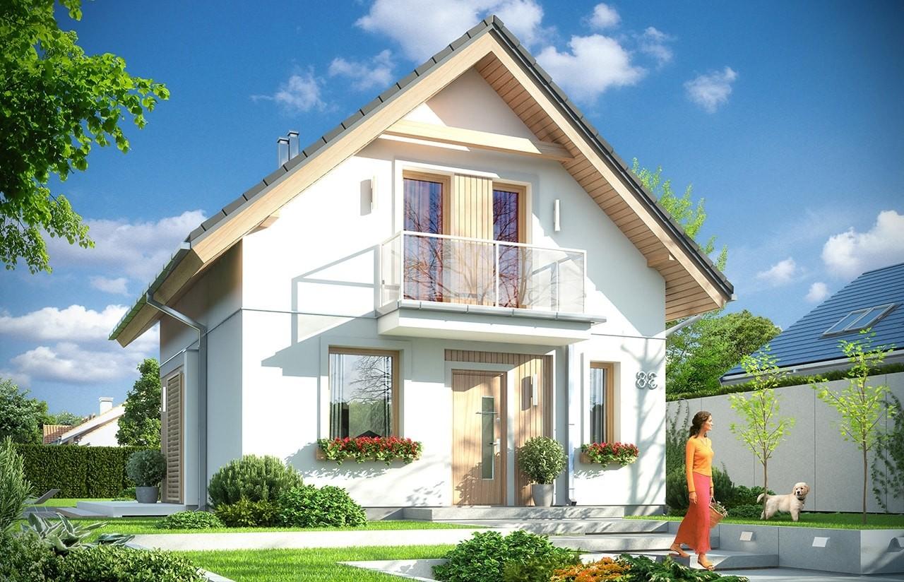 Projekt domu Oleńka - wizualizacja frontowa odbicie lustrzane