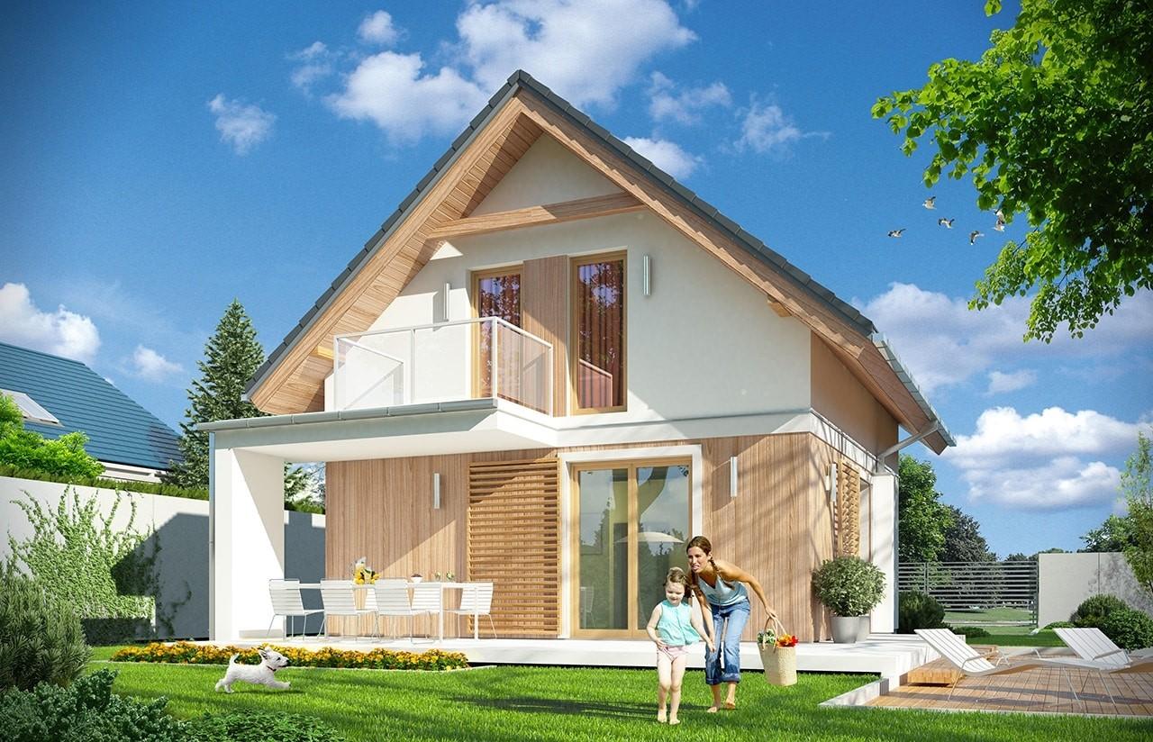 Projekt domu Oleńka - wizualizacja tylna odbicie lustrzane