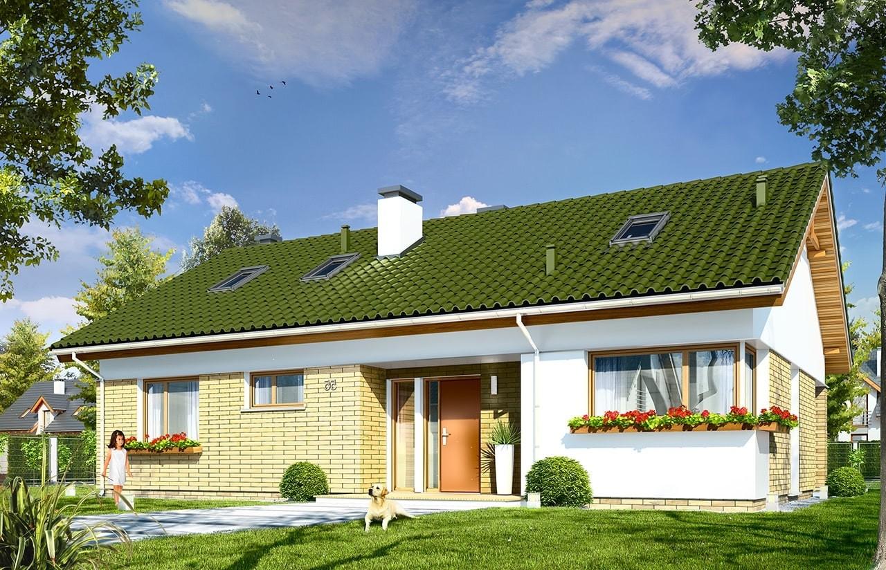 Projekt domu Oliwka 2 - wizualizacja frontowa odbicie lustrzane