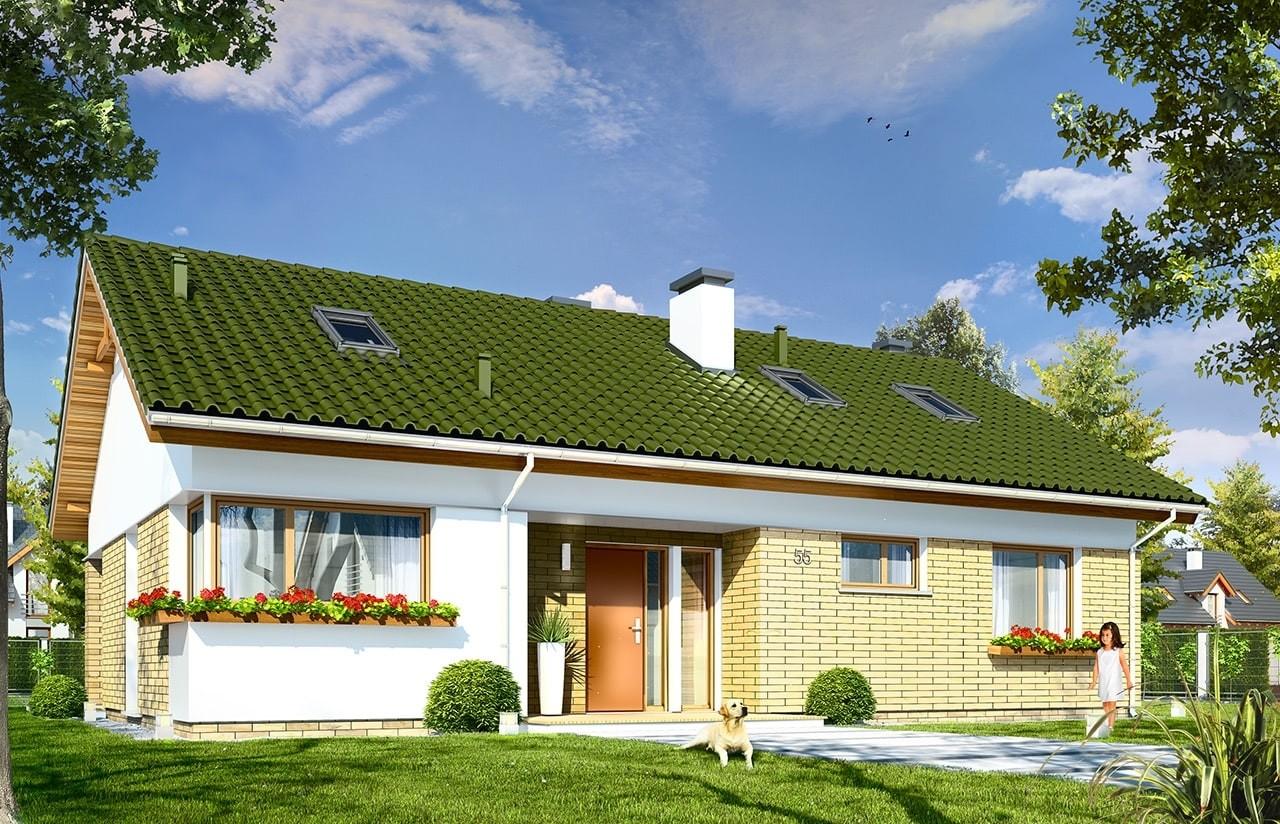 Projekt domu Oliwka 2 - wizualizacja frontowa