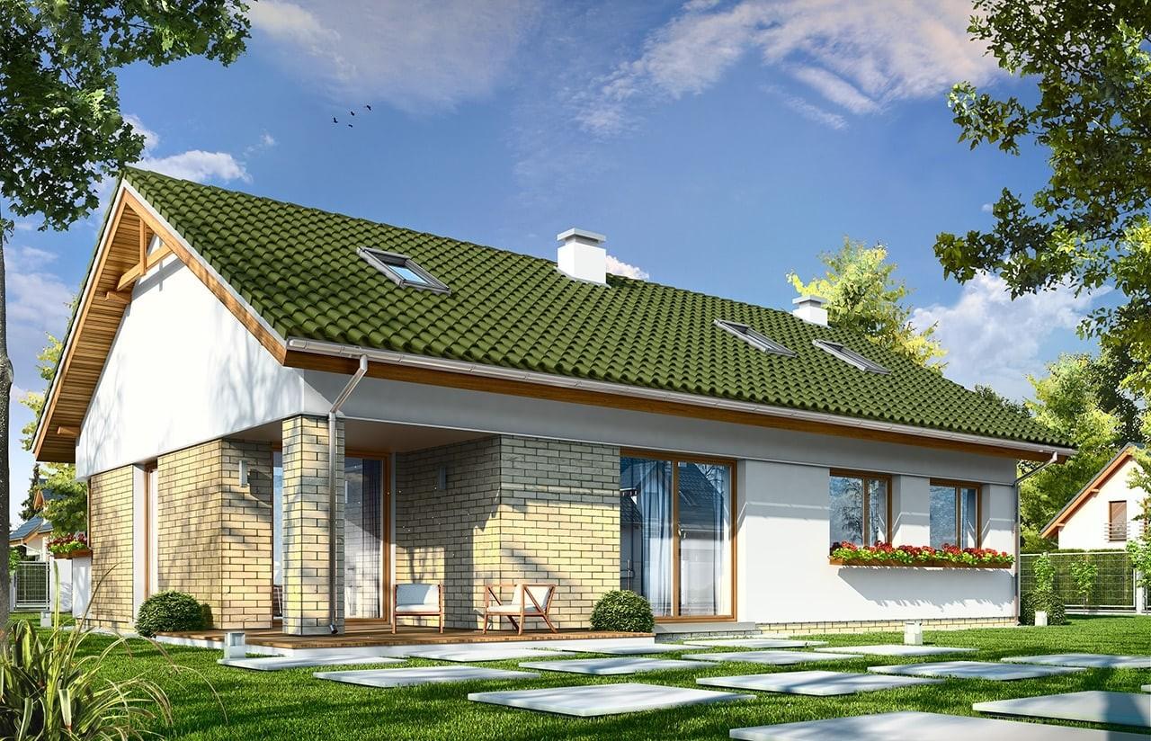 Projekt domu Oliwka 2 - wizualizacja tylna odbicie lustrzane