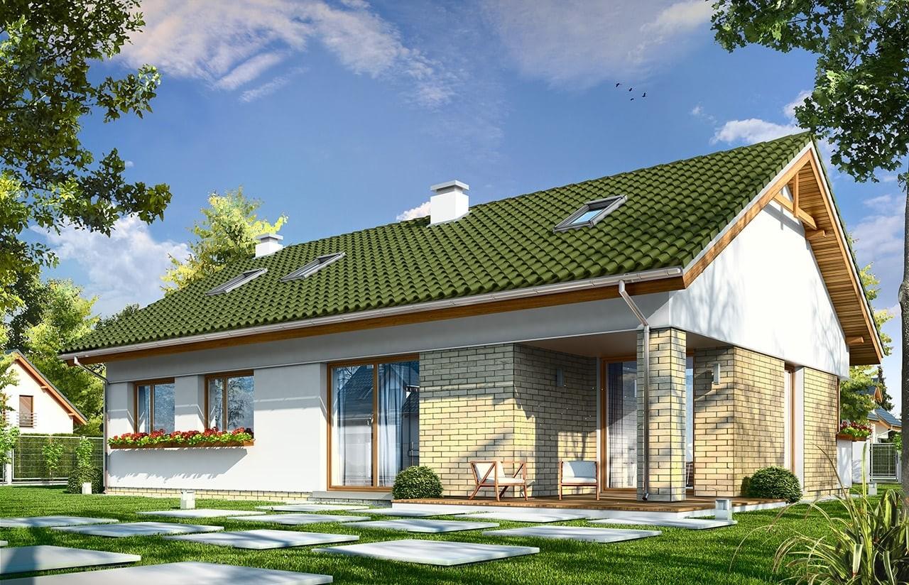 Projekt domu Oliwka 2 - wizualizacja tylna
