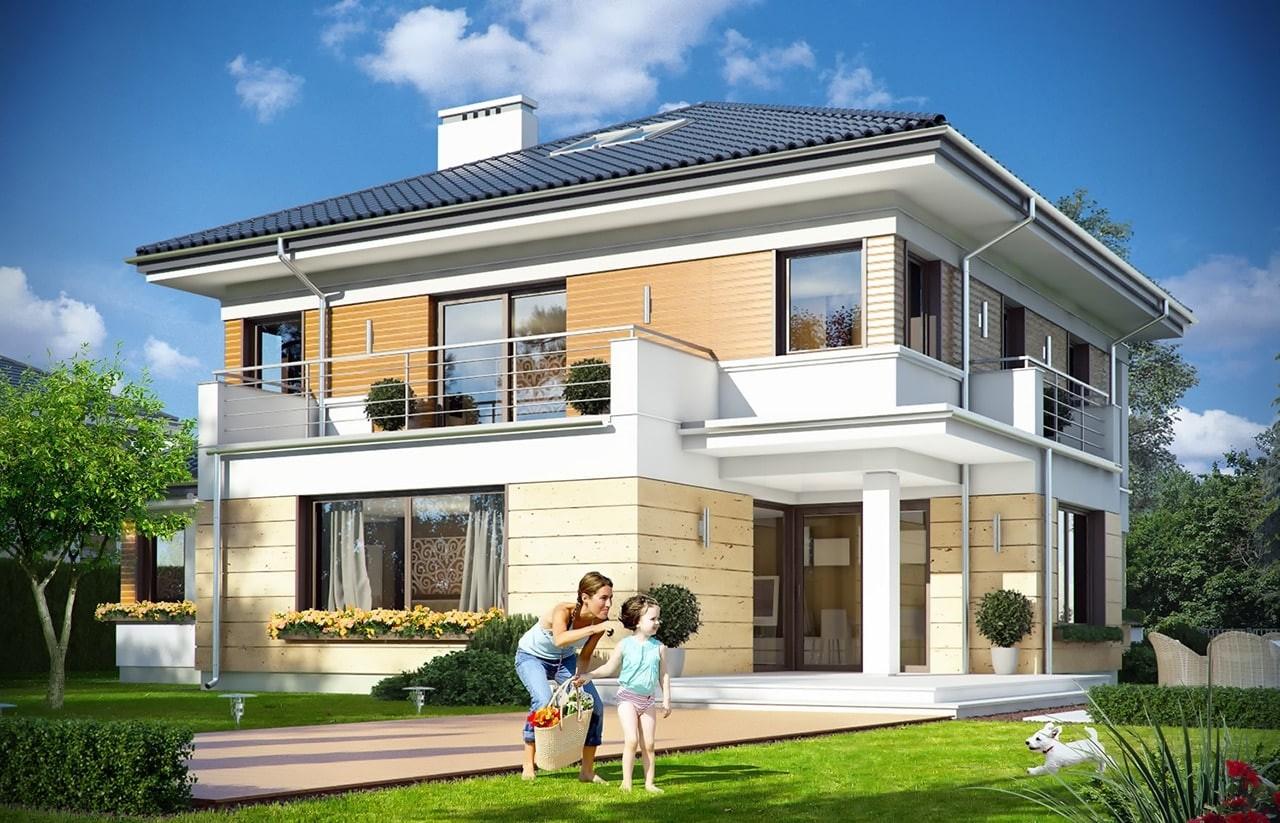 Projekt domu Opal 2 - wizualizacja tylna odbicie lustrzane