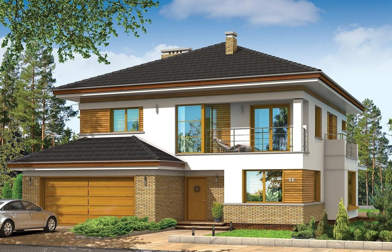 Projekt domu Opal - wizualizacja frontowa odbicie lustrzane