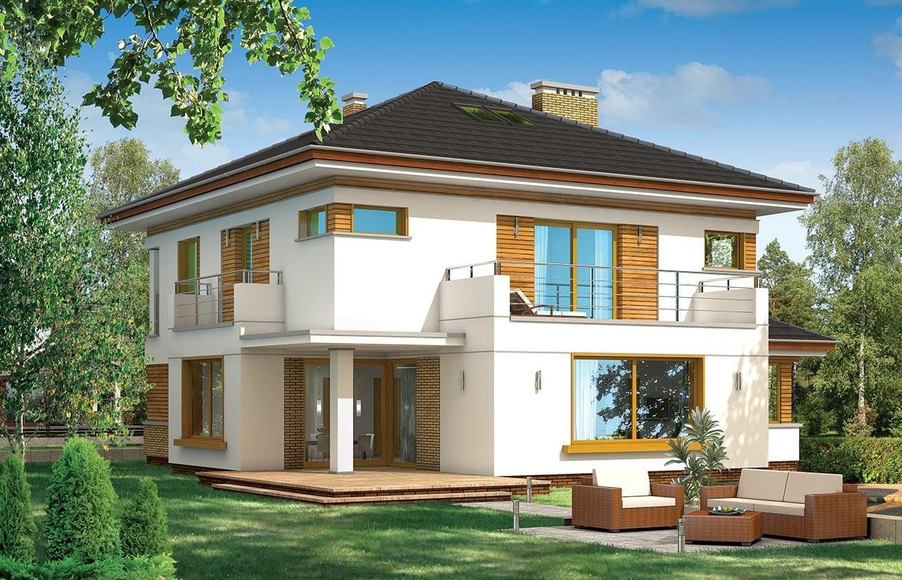 Projekt domu Opal - wizualizacja tylna odbicie lustrzane