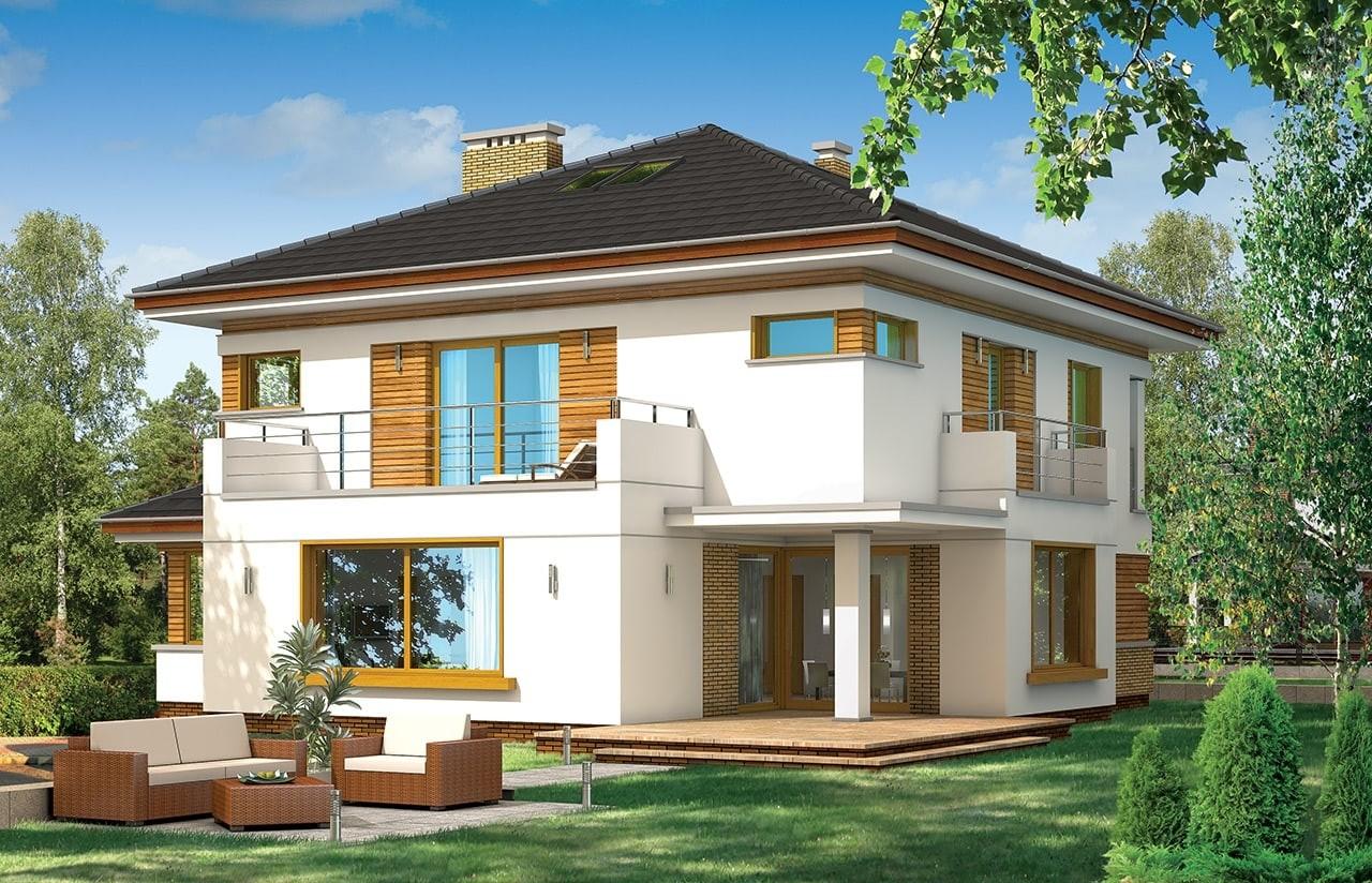 Projekt domu Opal - wizualizacja tylna