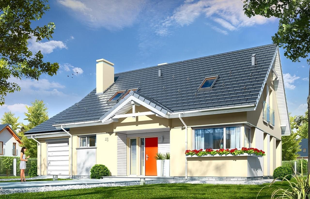 Projekt domu Optymalny 2 - wizualizacja frontowa odbicie lustrzane