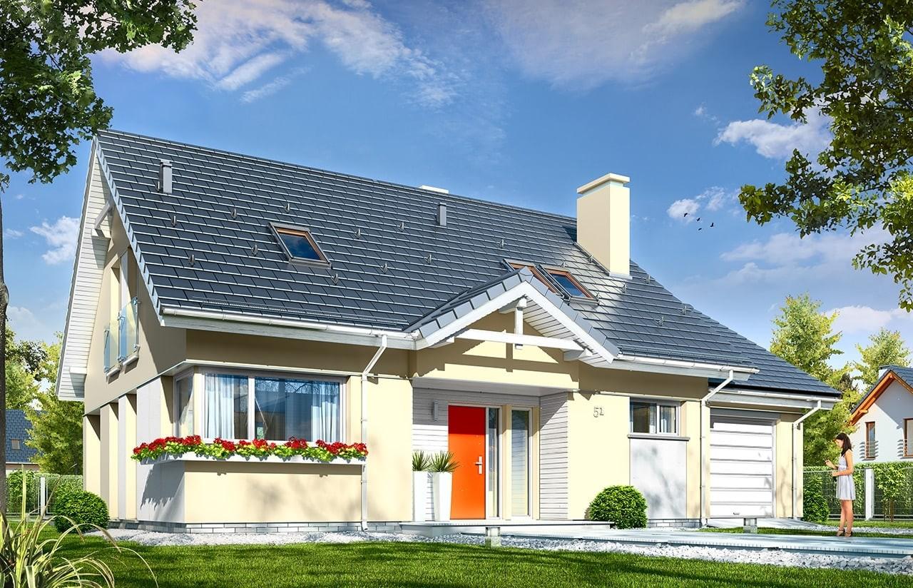 Projekt domu Optymalny 2 - wizualizacja frontowa