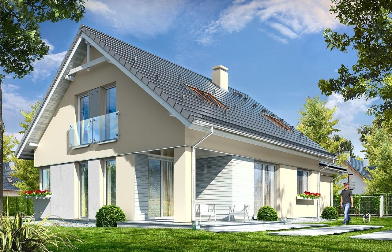 Projekt domu Optymalny 2 - wizualizacja tylna odbicie lustrzane