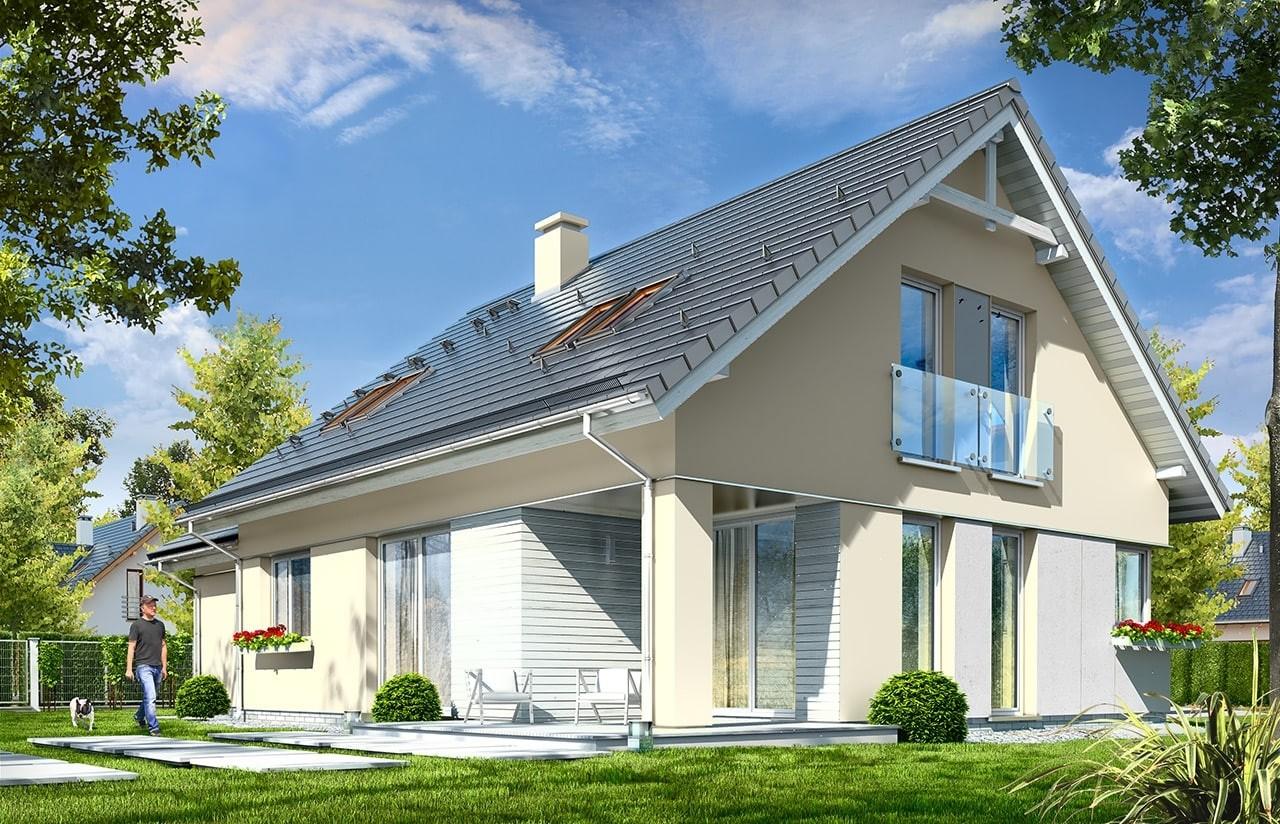 Projekt domu Optymalny 2 - wizualizacja tylna