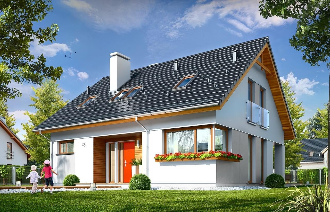Projekt domu Optymalny - wizualizacja frontowa odbicie lustrzane