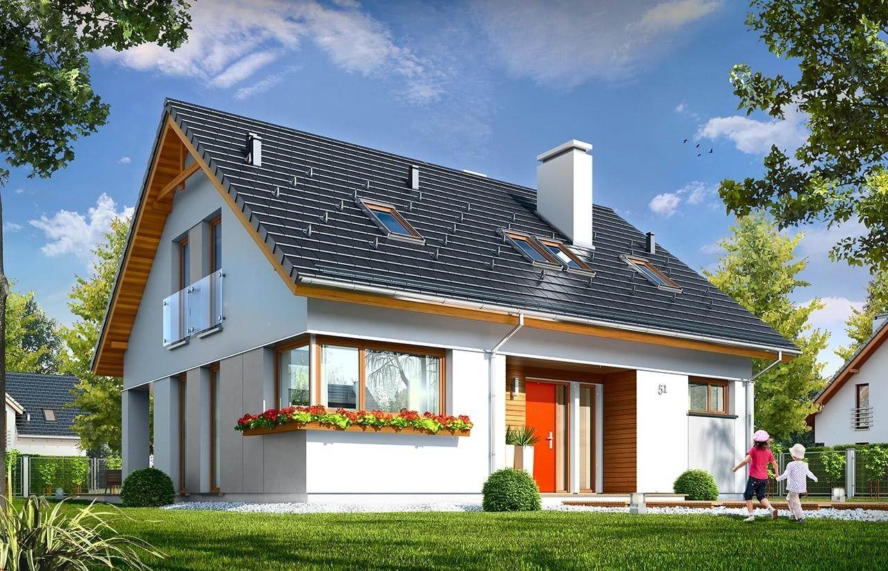 Projekt domu Optymalny - wizualizacja frontowa