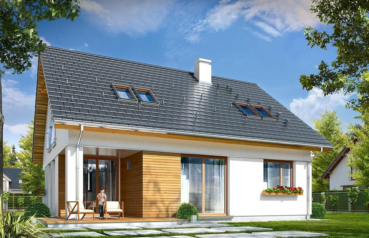 Projekt domu Optymalny - wizualizacja tylna odbicie lustrzane