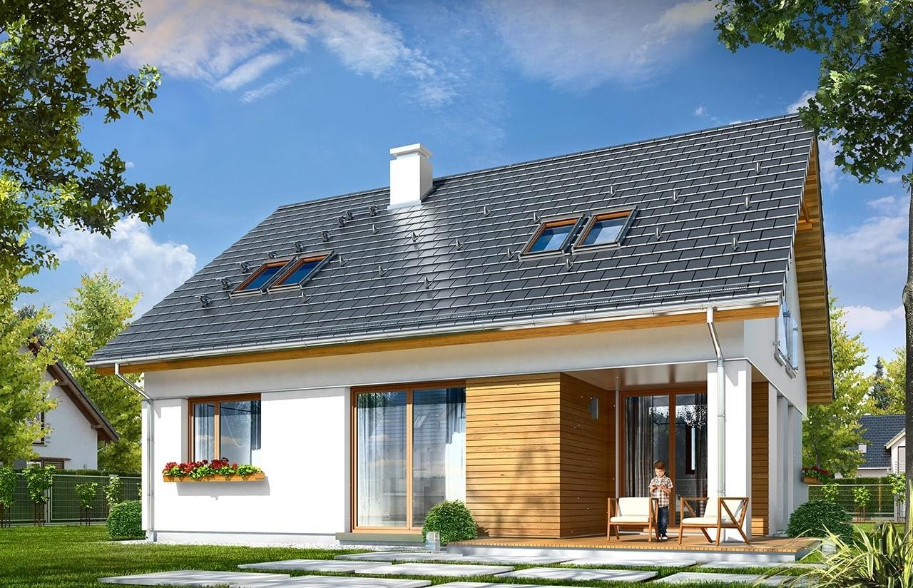 Projekt domu Optymalny - wizualizacja tylna