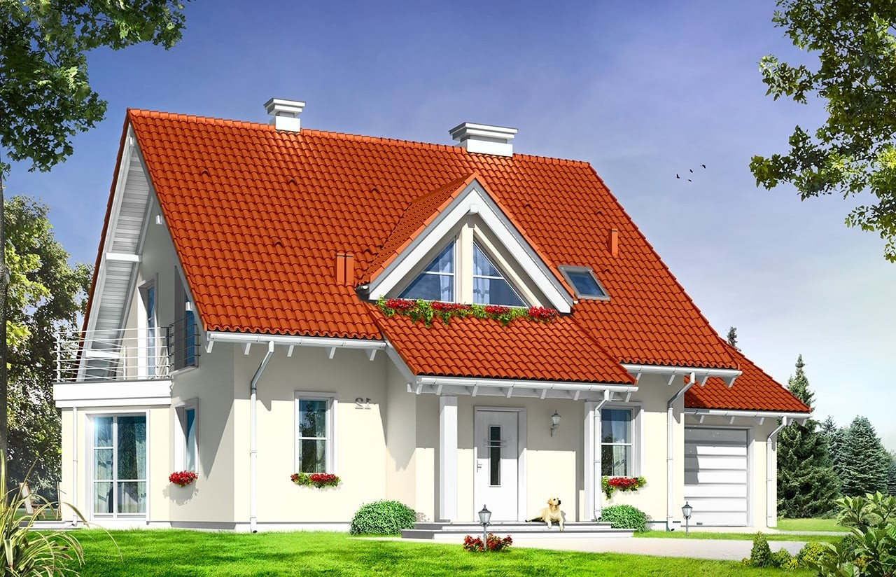 Projekt domu Orlik - wizualizacja frontowa odbicie lustrzane
