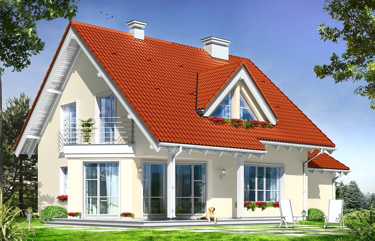 Projekt domu Orlik - wizualizacja tylna