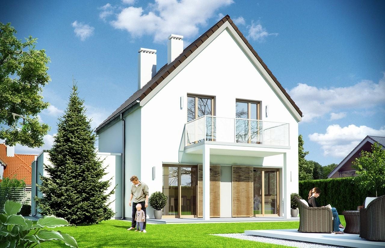 Projekt domu Oszczędny 2 wizualizacja tylna odbicie lustrzane