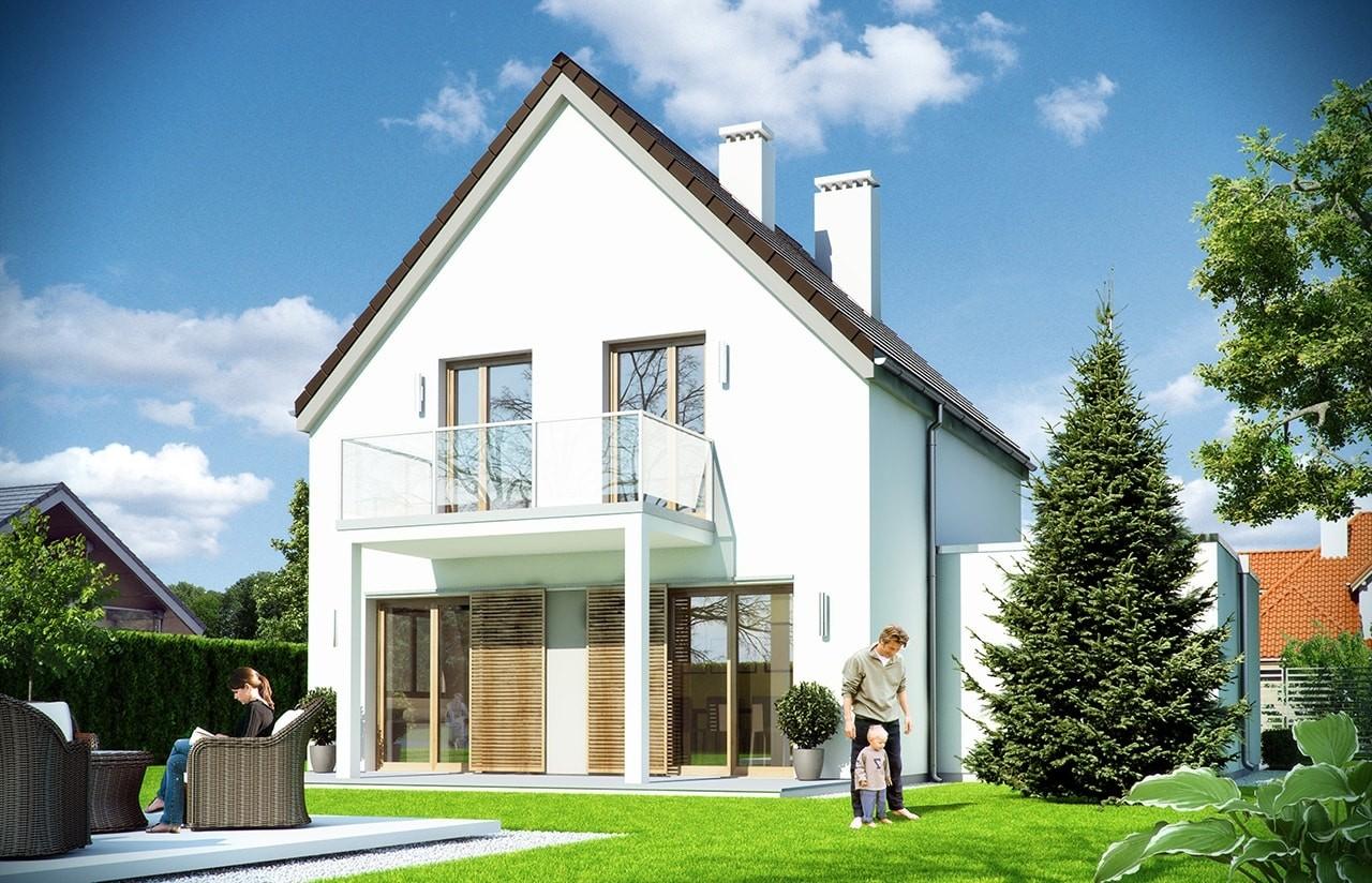 Projekt domu Oszczędny 2 wizualizacja tylna