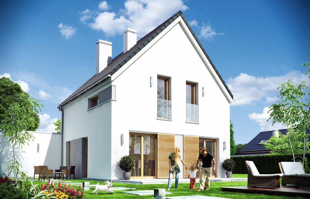 Projekt domu Oszczędny - wizualizacja tylna odbicie lustrzane