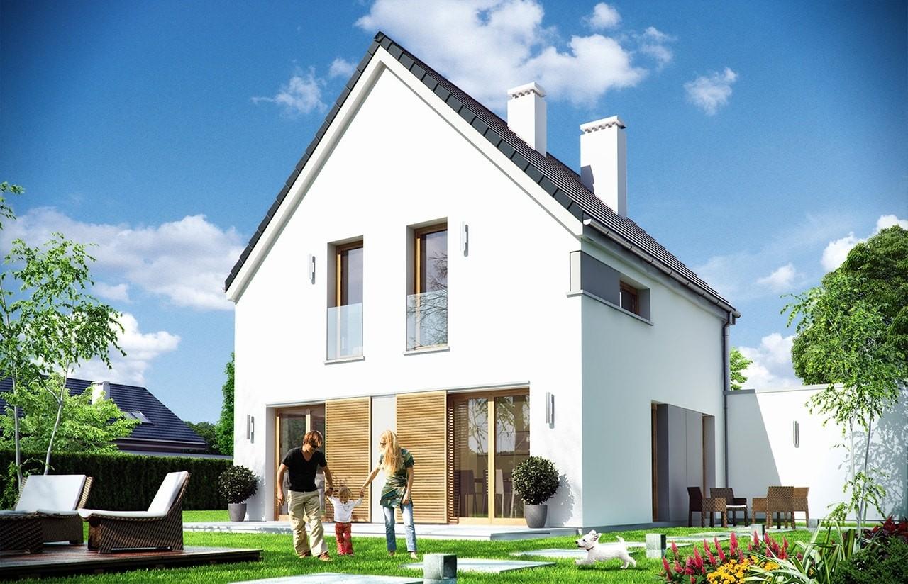 Projekt domu Oszczędny - wizualizacja tylna
