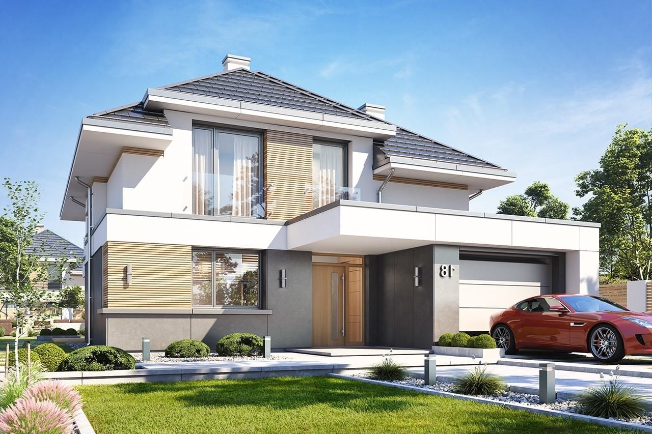 Projekt domu Oszust 2 - wizualizacja frontowa odbicie lustrzane