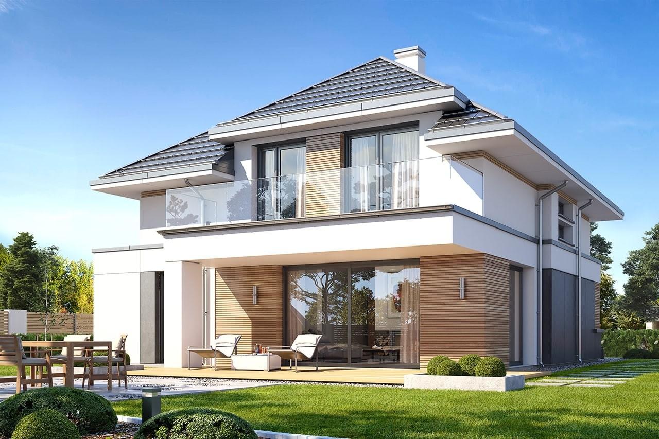 Projekt domu Oszust 2 - wizualizacja tylna odbicie lustrzane