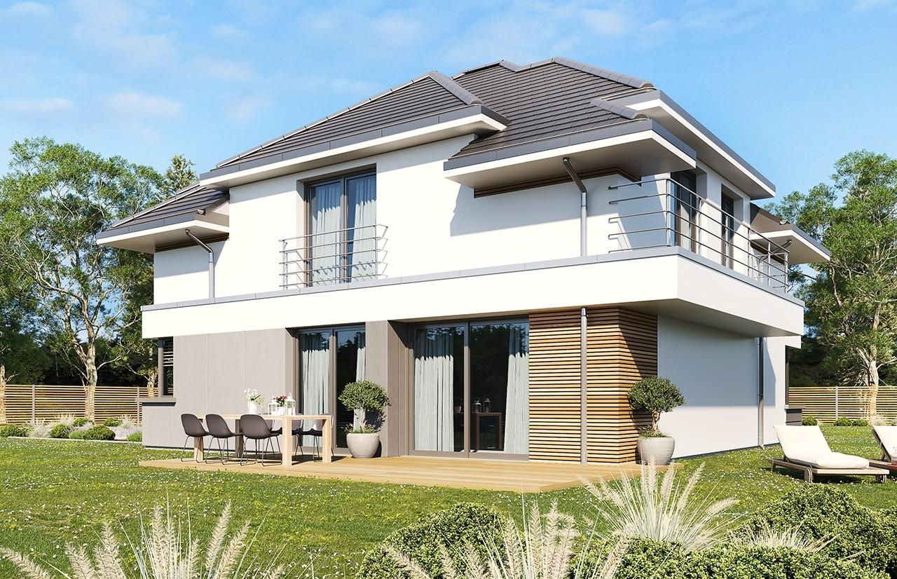 Projekt domu Oszust wariant B - wizualizacja tylna