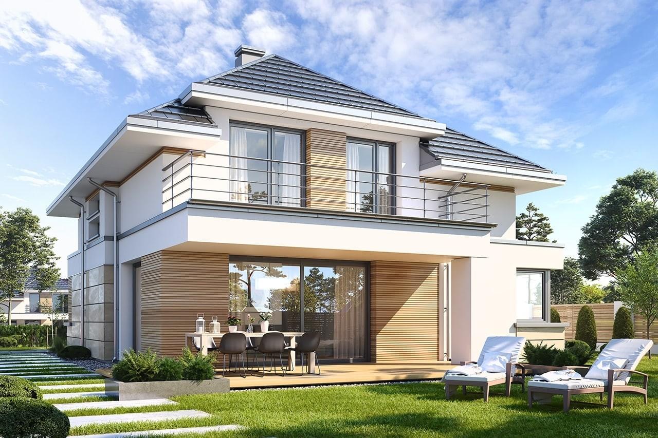 Projekt domu Oszust - wizualizacja tylna
