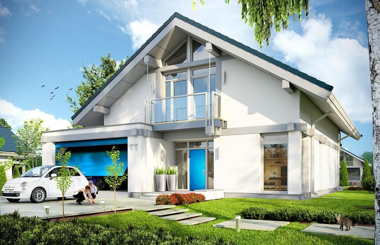 Projekt domu Otwarty 2 - wizualizacja frontowa odbicie lustrzane