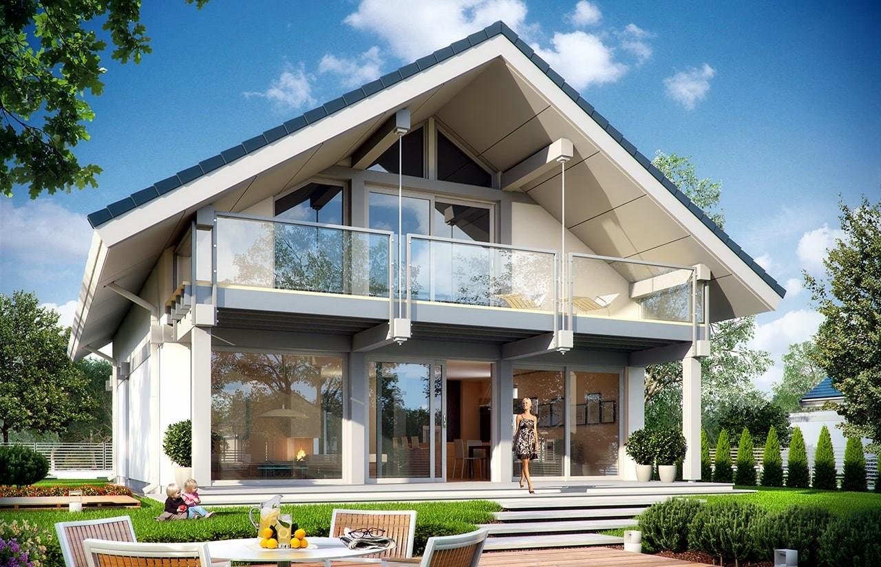 Projekt domu Otwarty 2 - wizualizacja tylna odbicie lustrzane