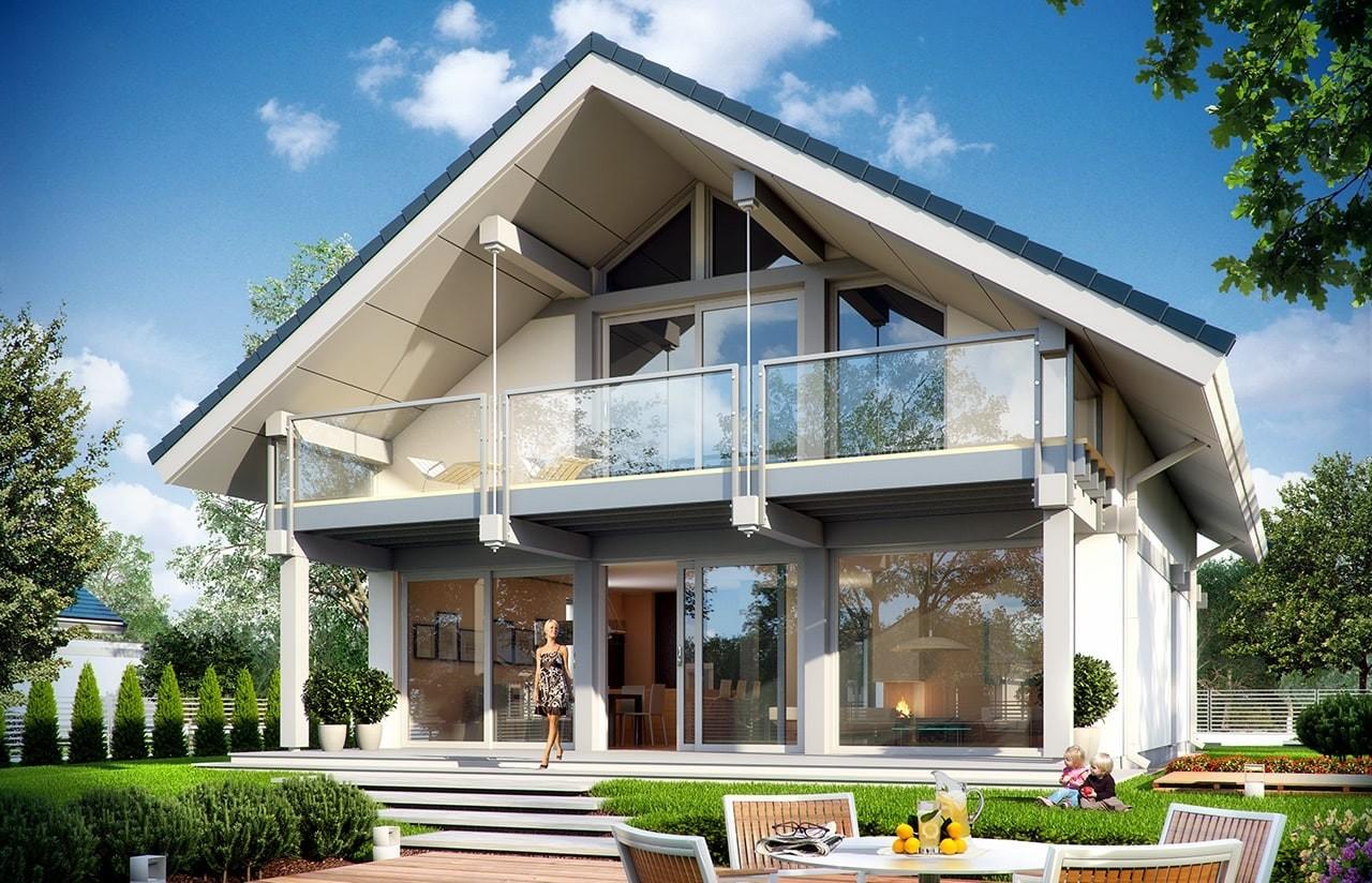 Projekt domu Otwarty 2 - wizualizacja tylna