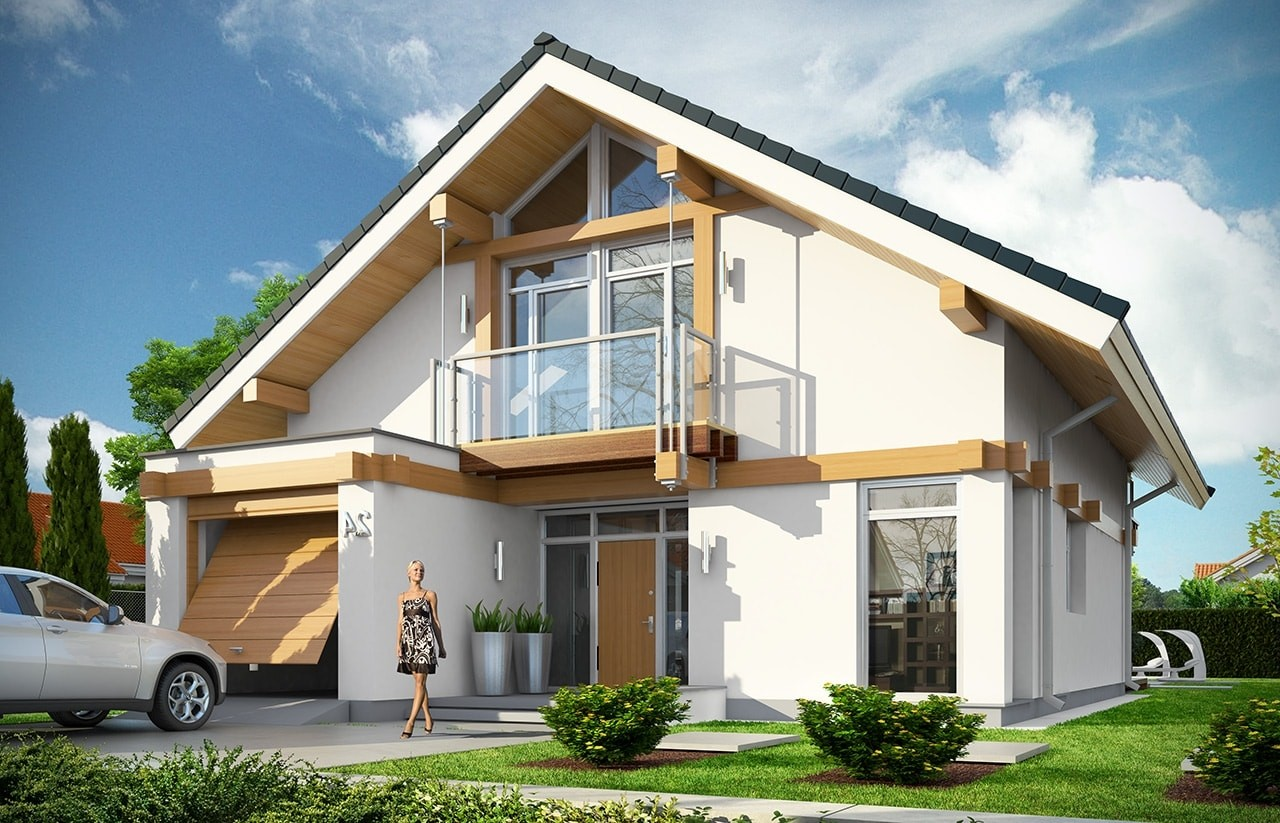 Projekt domu Otwarty 3 - wizualizacja frontowa odbicie lustrzane