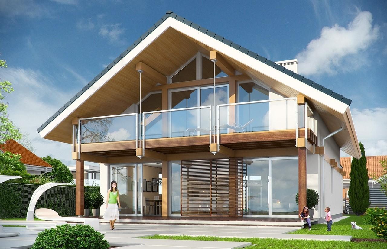 Projekt domu Otwarty 3 - wizualizacja tylna odbicie lustrzane