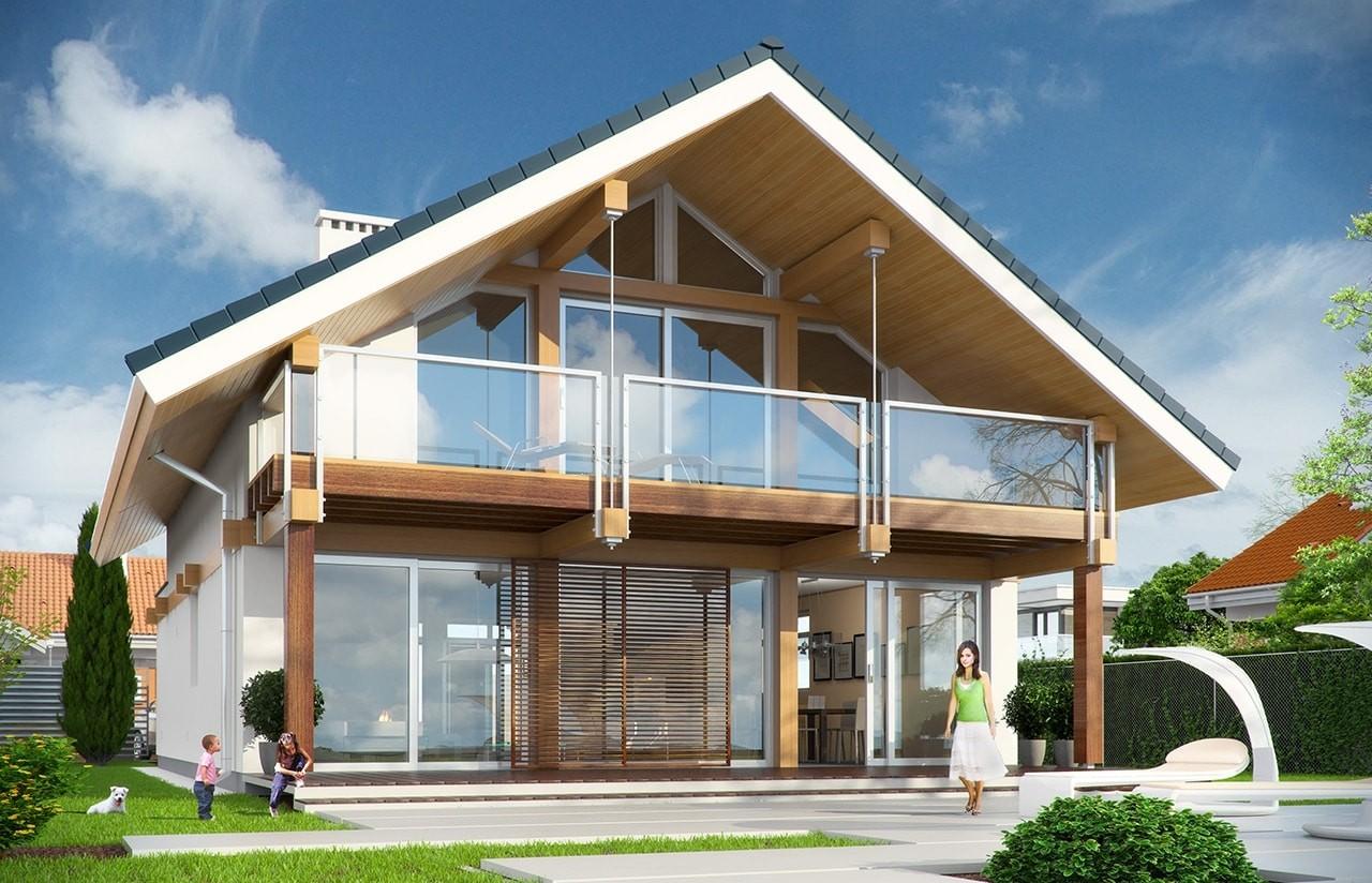 Projekt domu Otwarty 3 - wizualizacja tylna