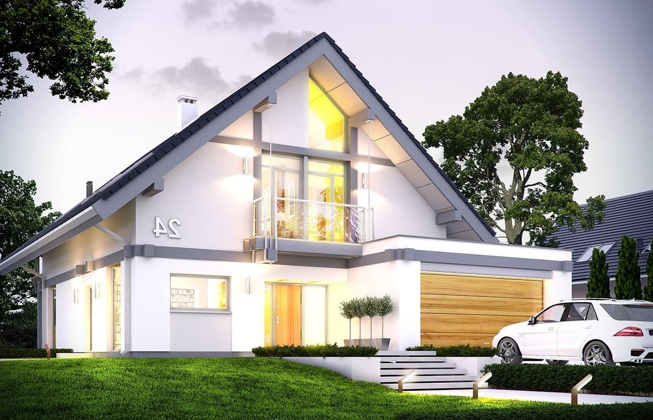 Projekt domu Otwarty 4 - wizualizacja frontowa odbicie lustrzane