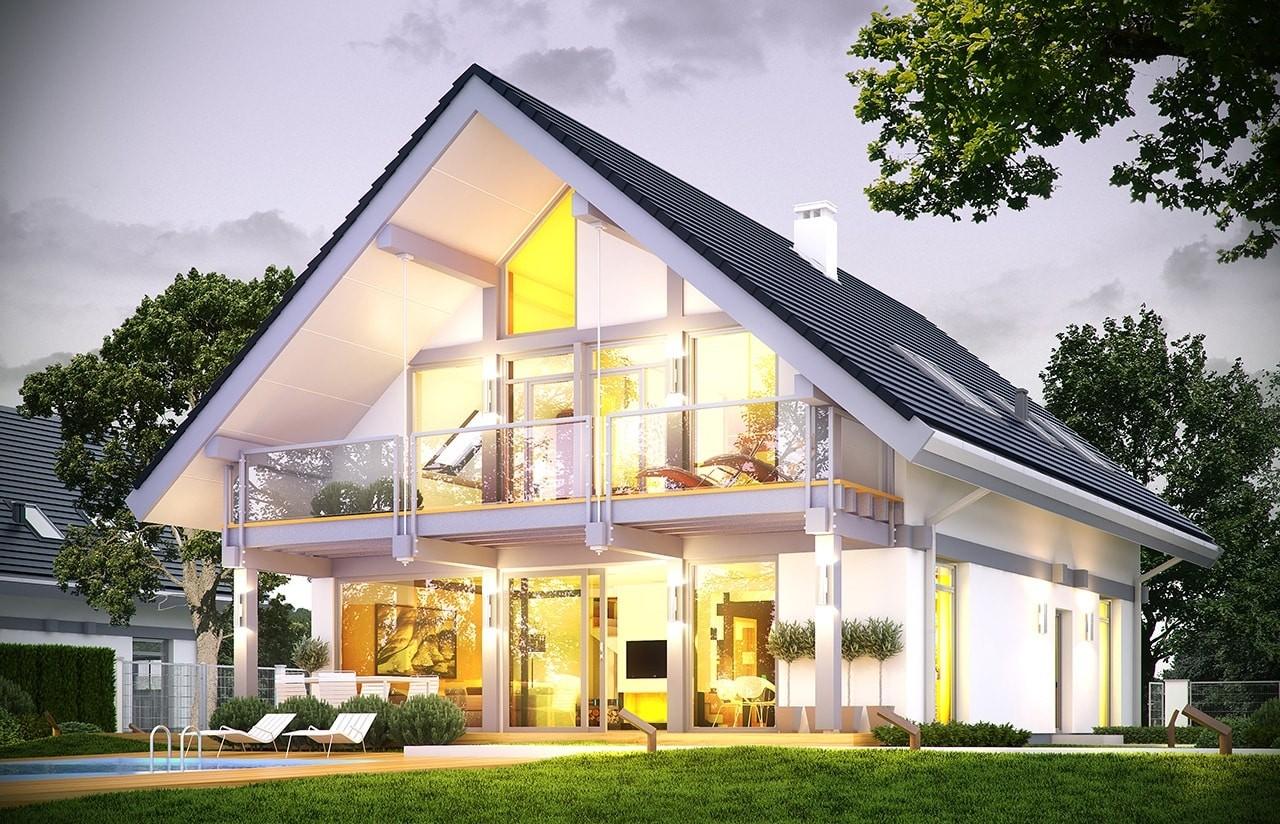 Projekt domu Otwarty 4 - wizualizacja tylna odbicie lustrzane