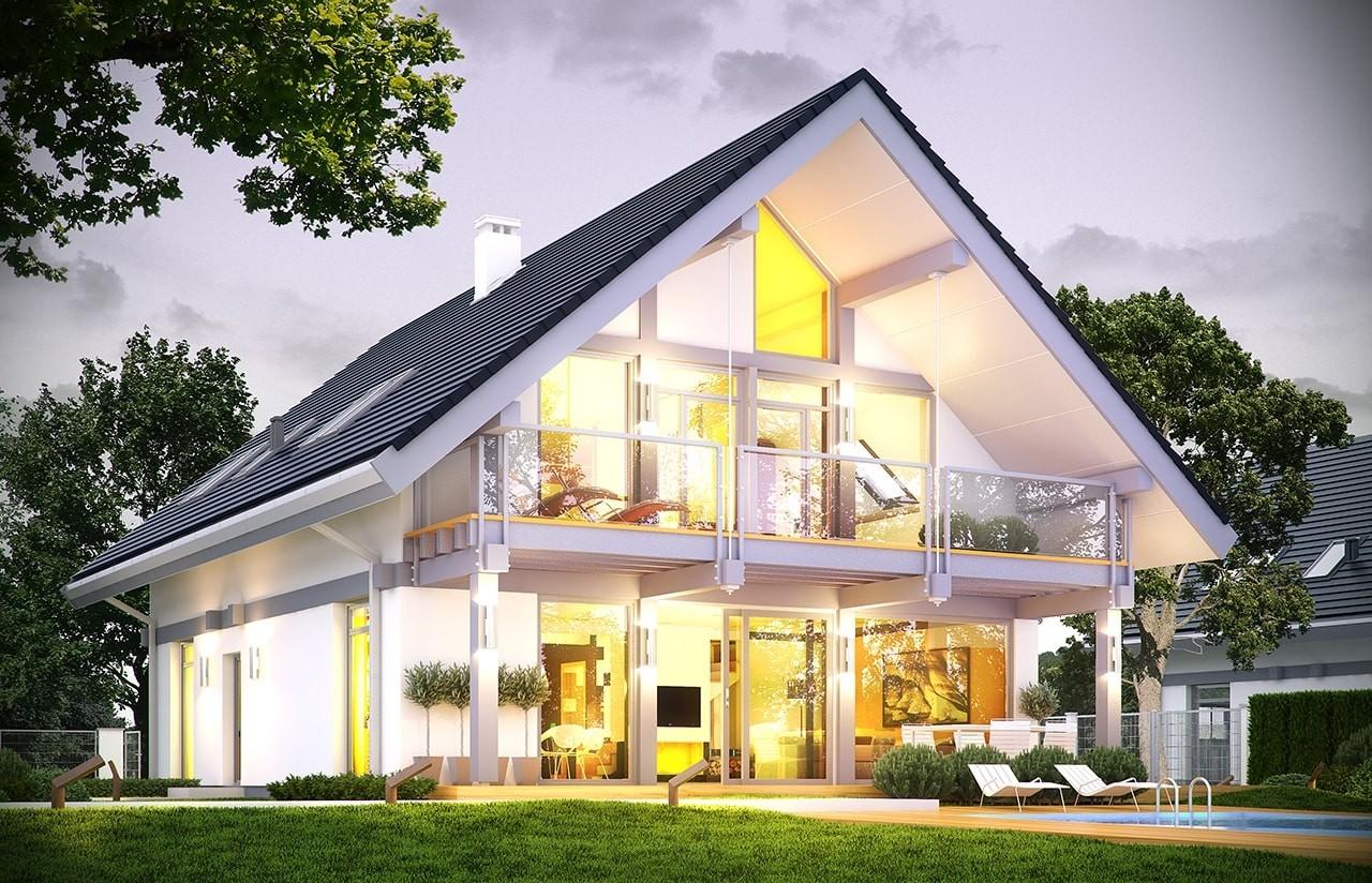 Projekt domu Otwarty 4 - wizualizacja tylna