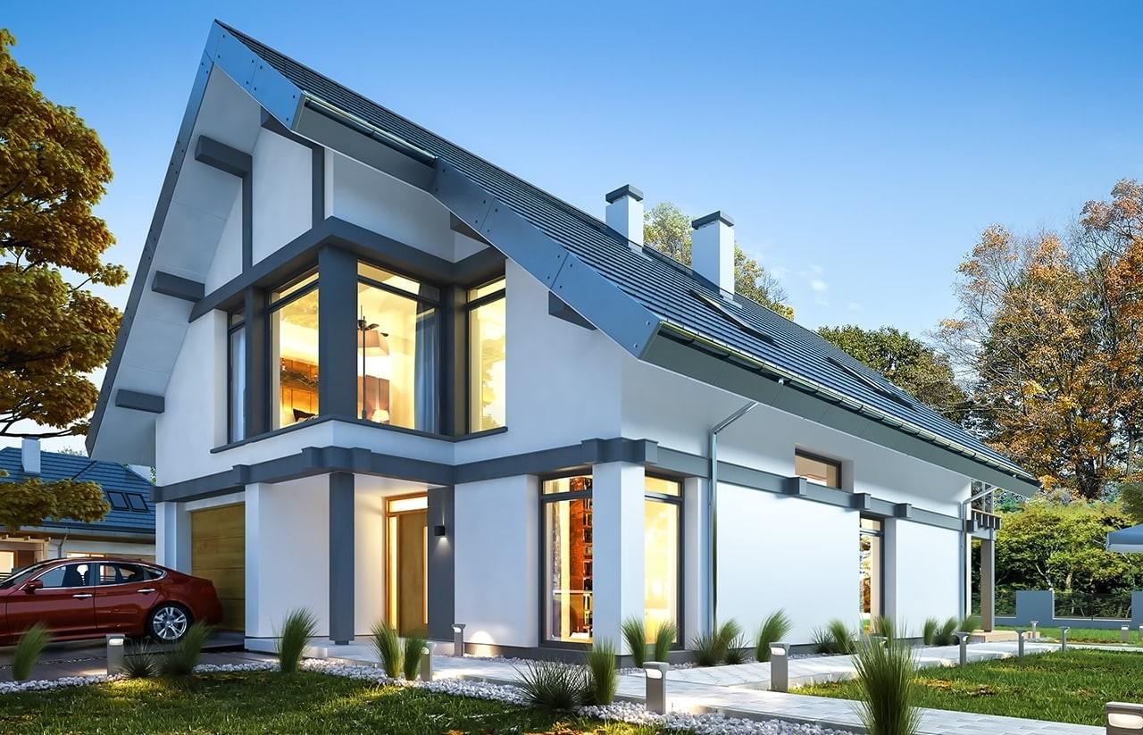 Projekt domu Otwarty 5 - wizualizacja tylna