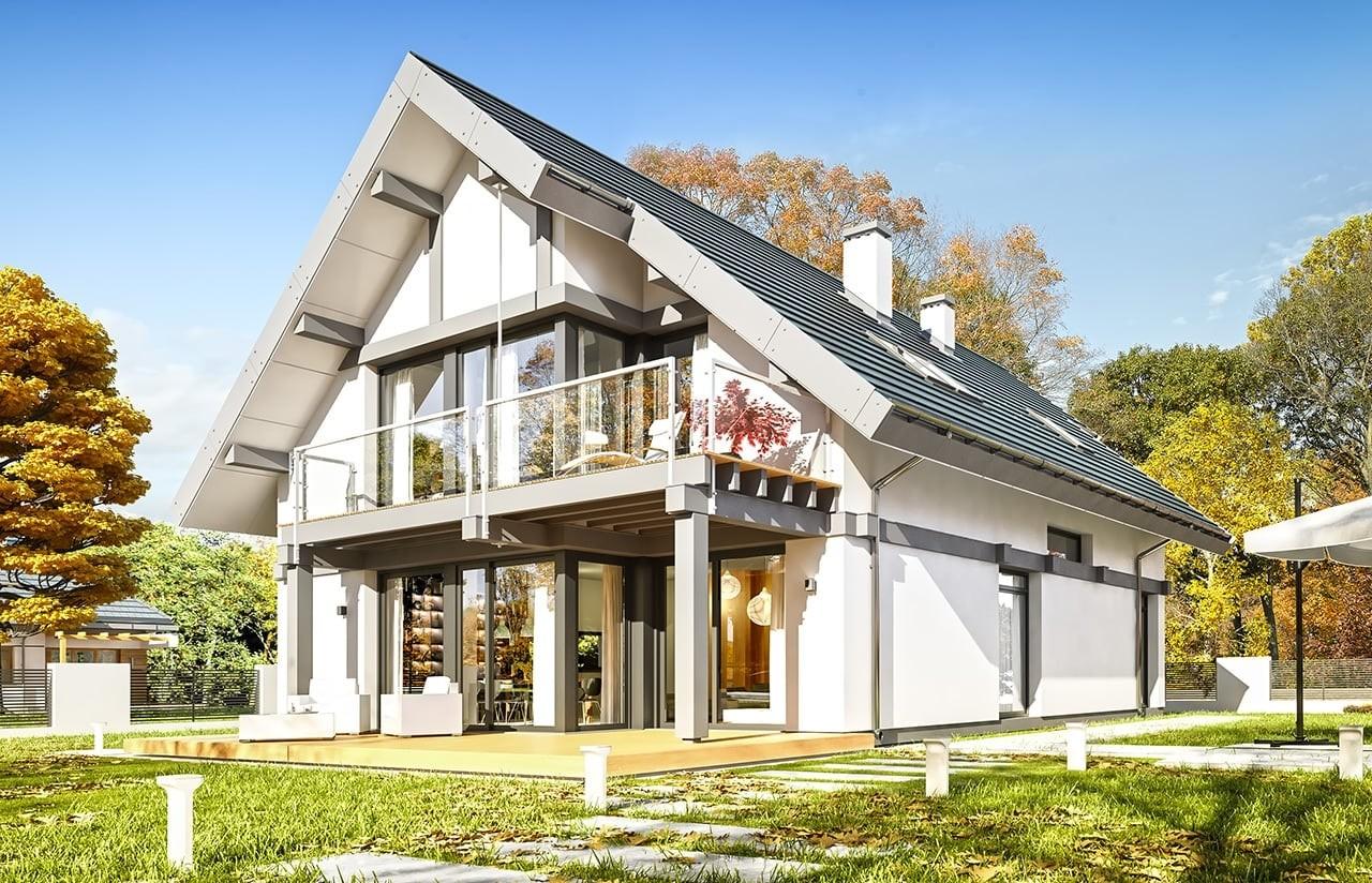 Projekt domu Otwarty 5 - wizualizacja tylna odbicie lustrzane