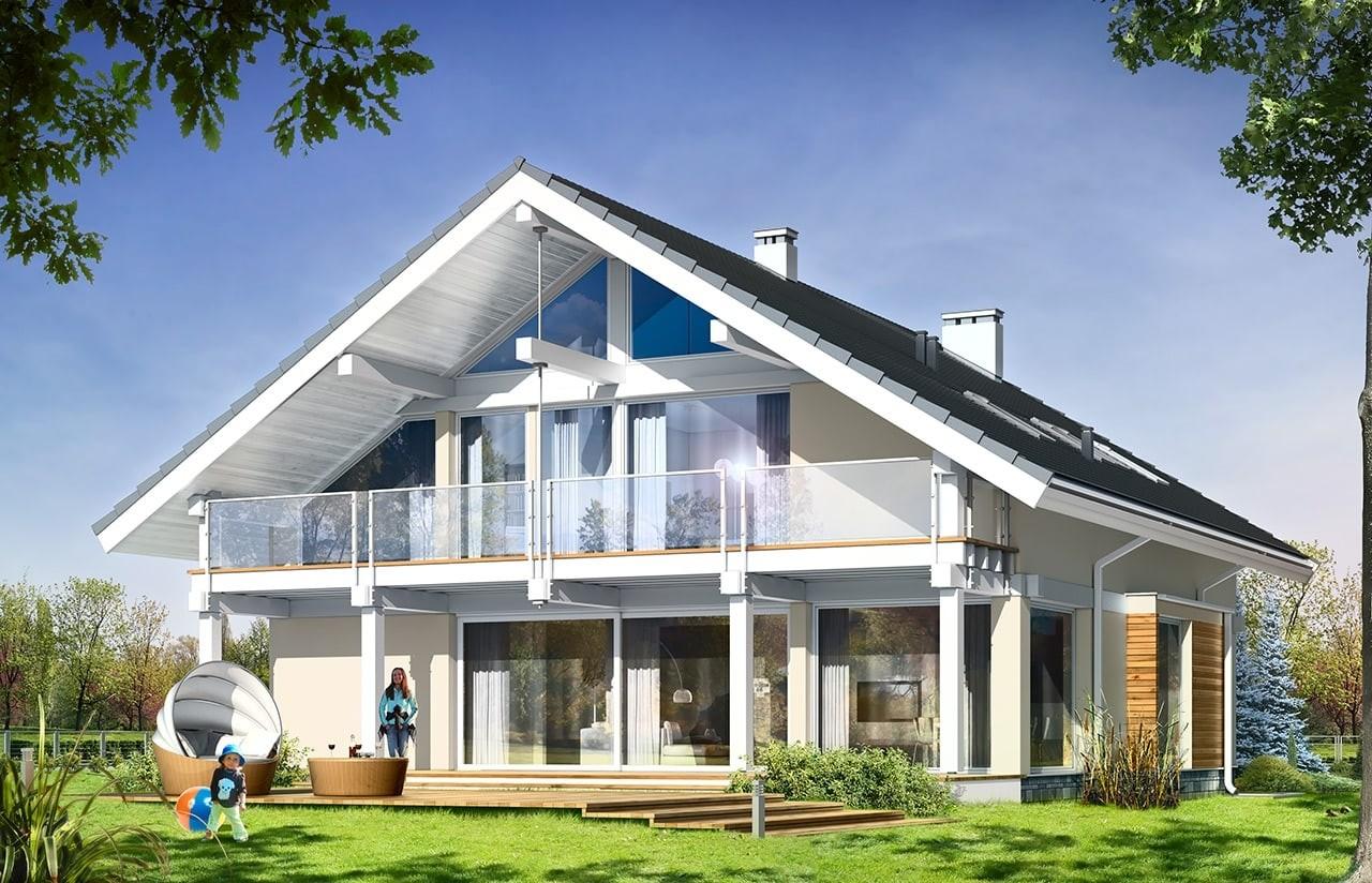 Projekt domu Otwarty - wizualizacja tylna