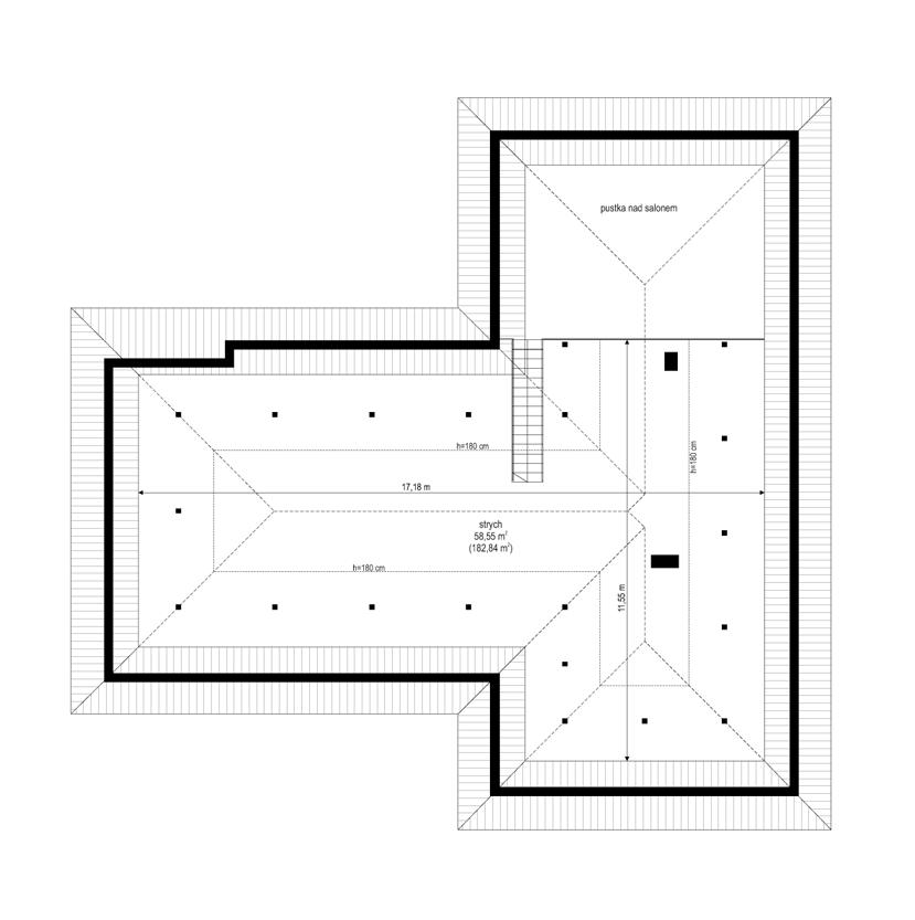 Parterowy 2 - rzut strychu odbicie lustrzane