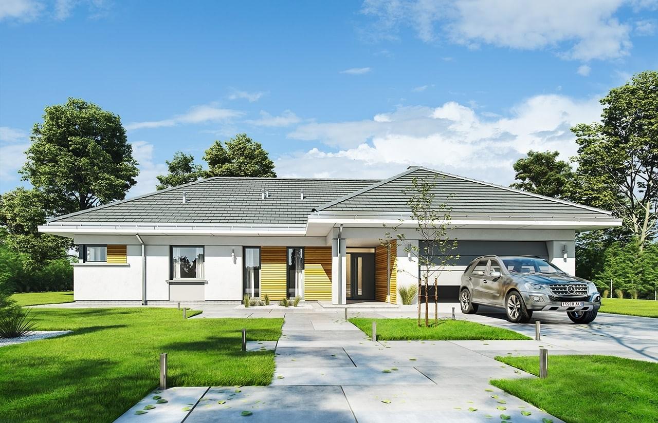 Projekt domu Parterowy 2 - wizualizacja frontowa odbicie lustrzane
