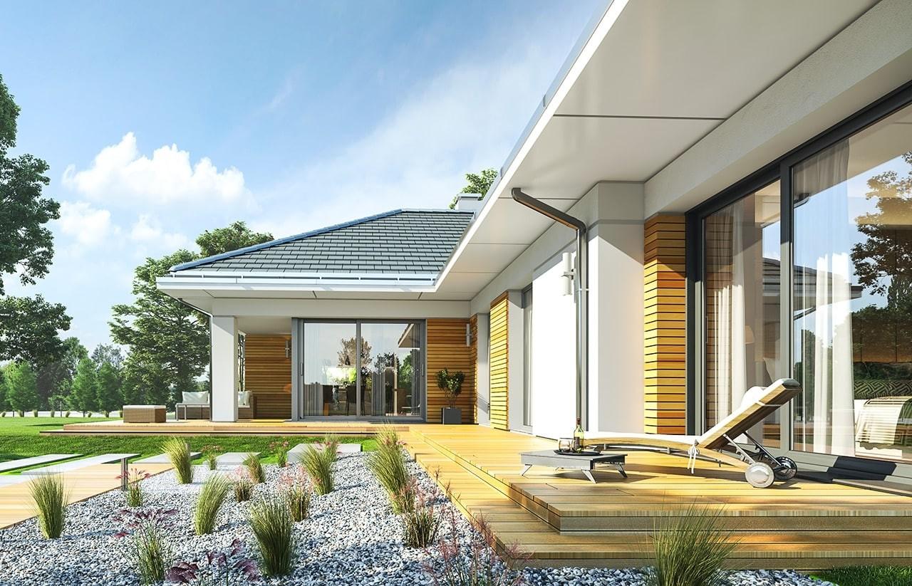 Projekt domu Parterowy 2 - wizualizacja tylna odbicie lustrzane