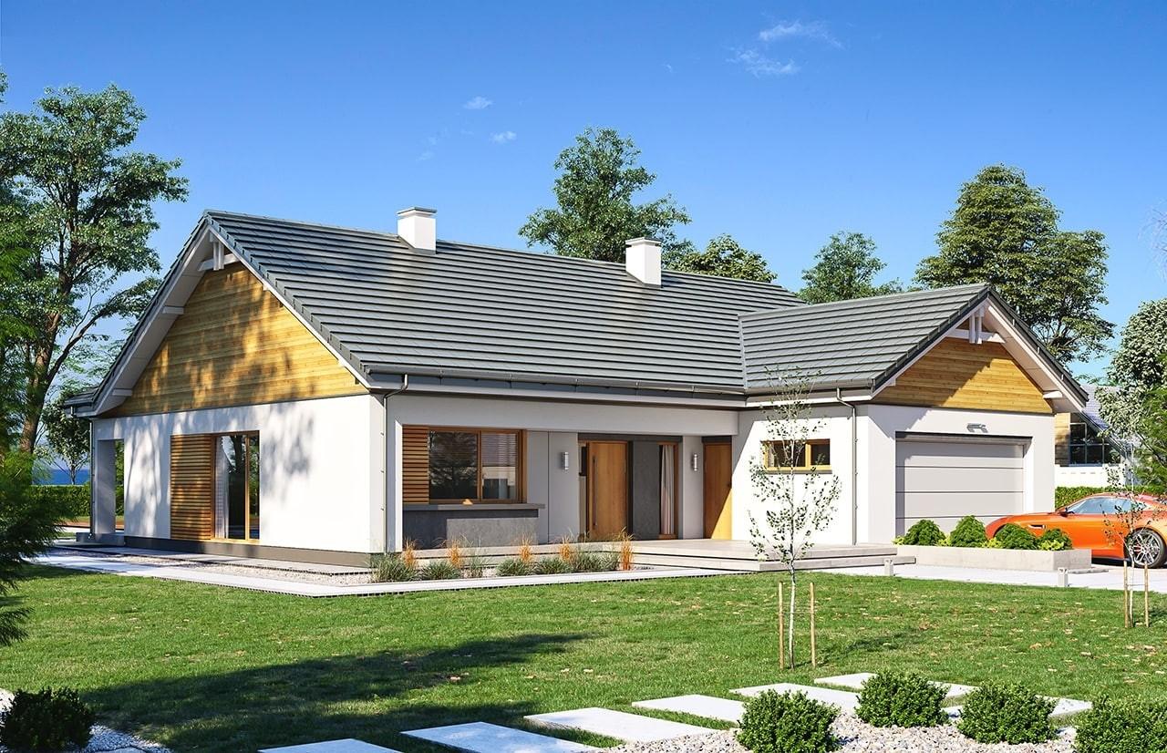 Projekt domu Parterowy 3 wariant B - wizualizacja frontowa odbicie lustrzane